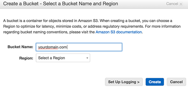Amazon S3 Create New