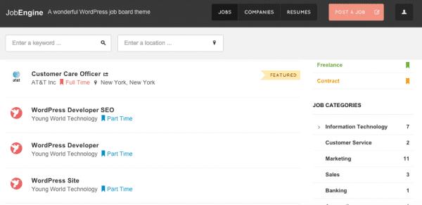 JobEngine: a standalone Job Board WordPress Theme