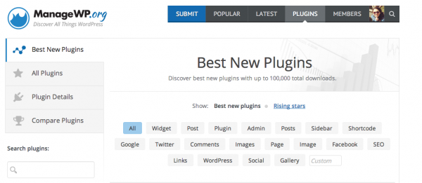 Best New Plugins Section on ManageWP.org