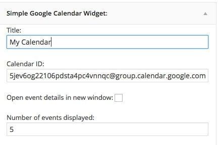 Simple Google Calendar Widget plugin settings