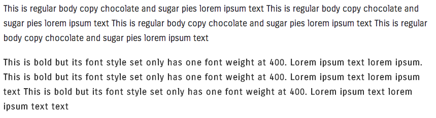 example of web font using bold instead of font weight