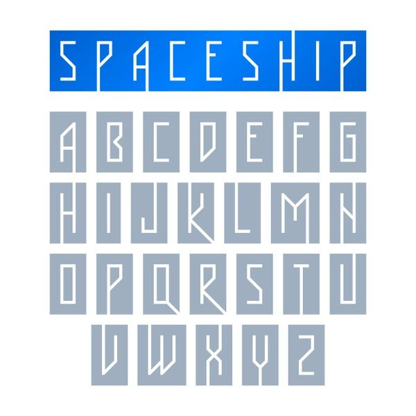 spaceship lettering - example of font personality