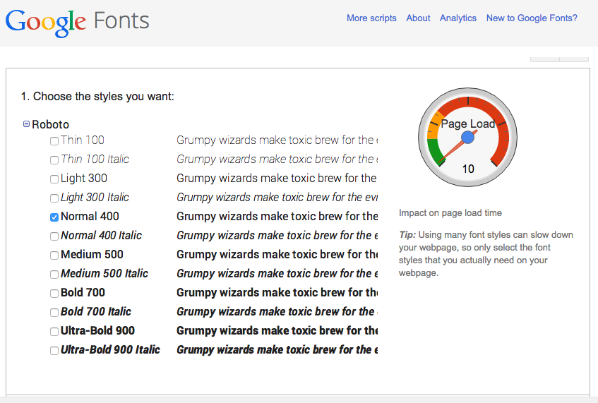google font example set of font weights
