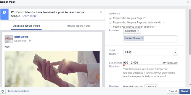 Boost a Facebook post to increase its performance