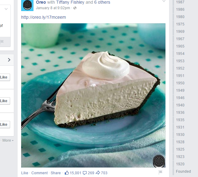 Oreo uses visual content for its posts