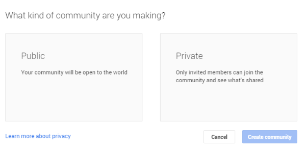 Difference between private & public Google+ Communities