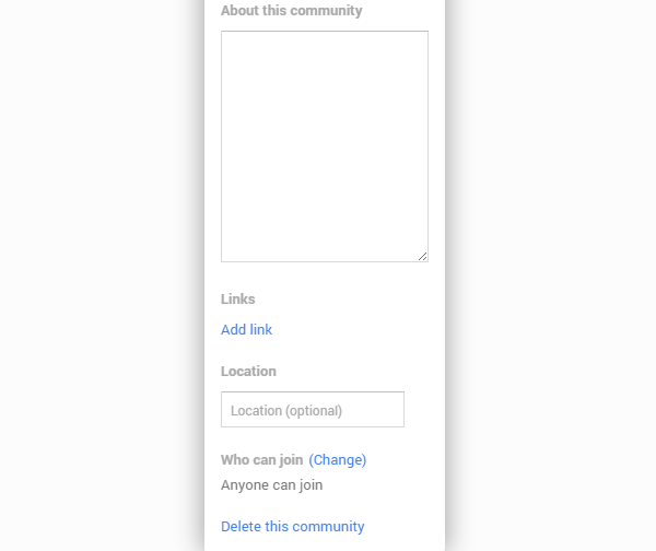 Editing a Google+ Community