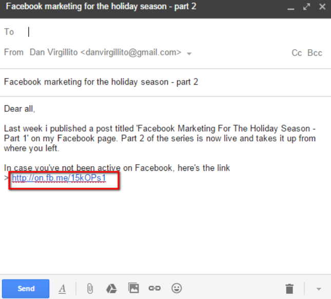 Use email to promote Facebook posts