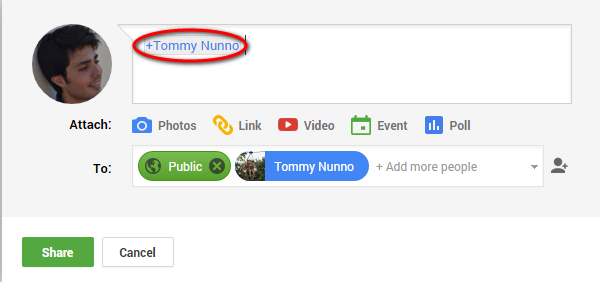 mentioning someone in Google+ Communities