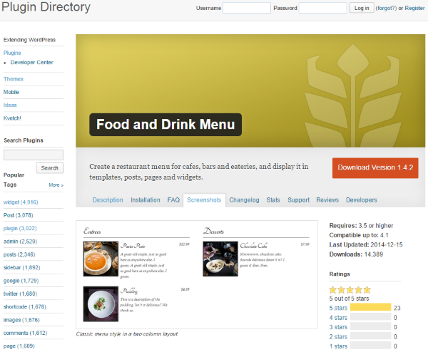 How to Build a Restaurant Website with WordPress - Food and Drink Menu