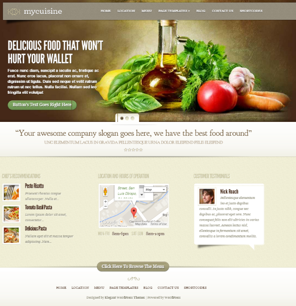 How to build a restaurant website with wordpress elegant for Cuisine site