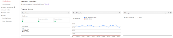 How to Use Google Webmaster Tools to Improve Your Website - Site Dashboard