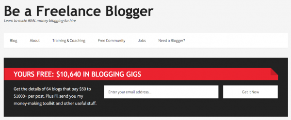 Example of free opt in on Be A Freelance Blogger
