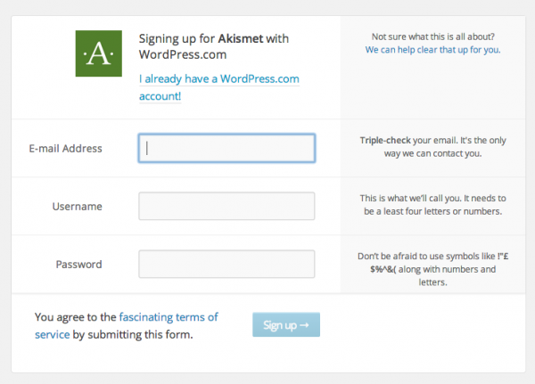 Signup for WordPress.com to activate Akismet