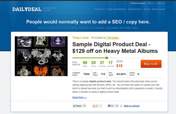 Using Daily Deals theme to build a deal site