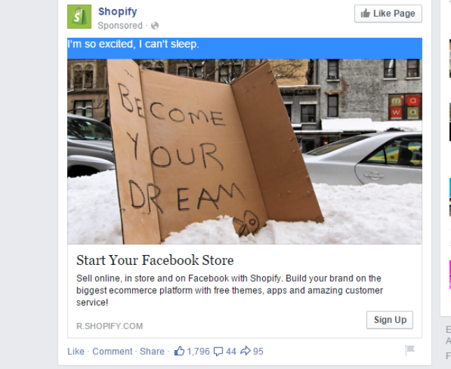 Facebook ad copy match landing page