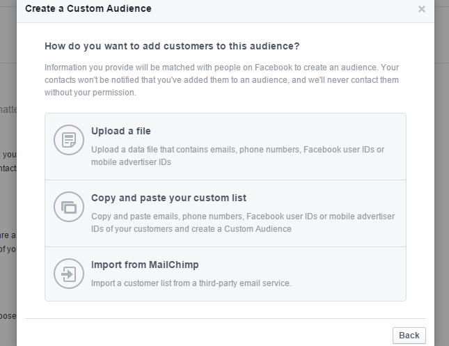 Import CSV file to Facebook or email address from MailChimp