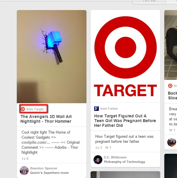 Target includes its site's link in its pins