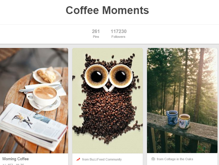 Starbucks community engagement on Pinterest