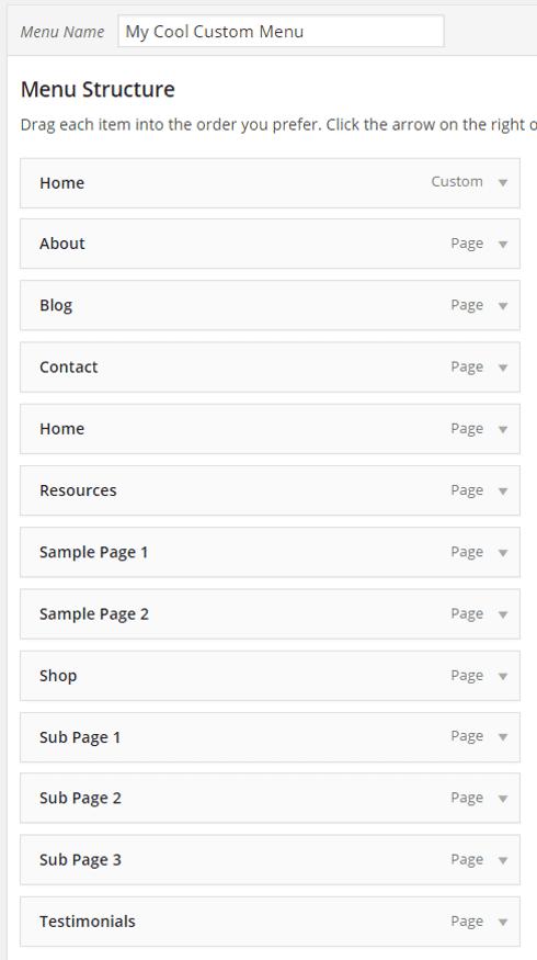Add custom menu thesis
