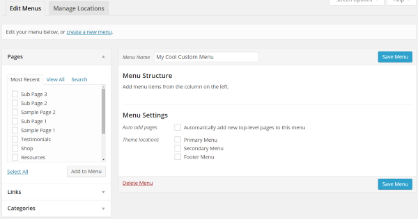 How to Create Custom Menu Structures in WordPress - Creating a Menu