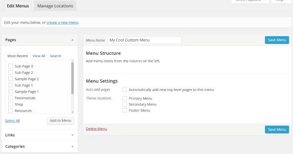 How to Create Custom Menu Structures in WordPress - Creating a Menu