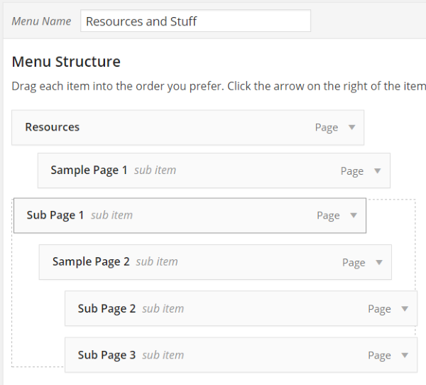 How to Create Custom Menu Structures in WordPress - Handling Sub Pages 2