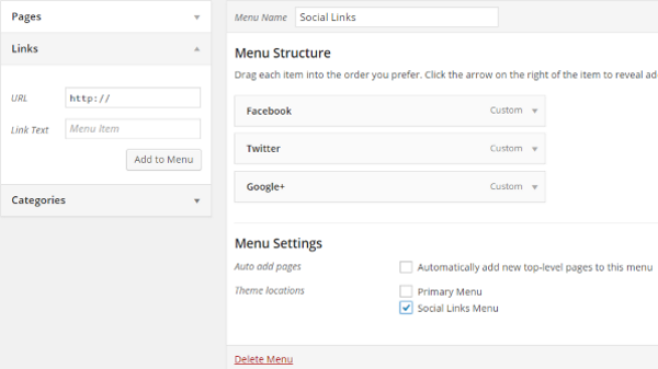How to Create Custom Menu Structures in WordPress - Social Links 2
