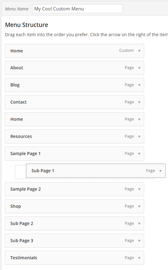 How to Create Custom Menu Structures in WordPress - Structuring the Menu with Drag and Drop