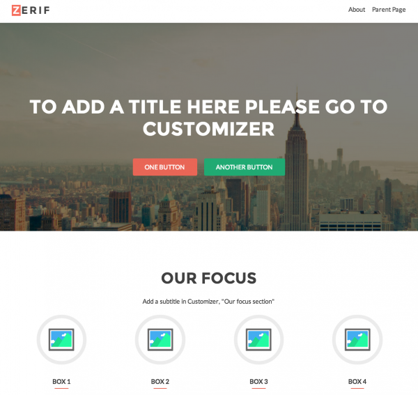 Zerif One Page WordPress Theme: Compatible with WooCommerce