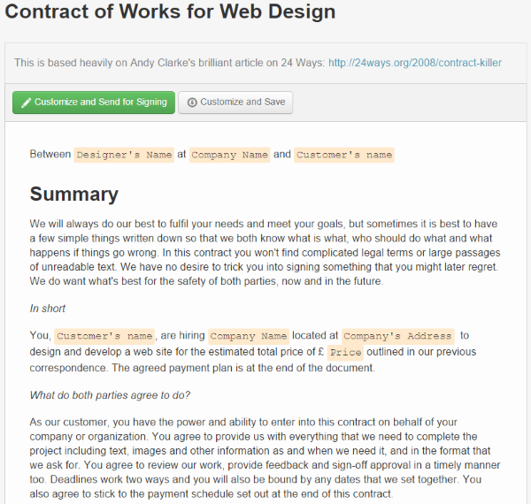 Where To Find Web Design Contract Templates For Web Design Projects - Contract of Works for Web Design
