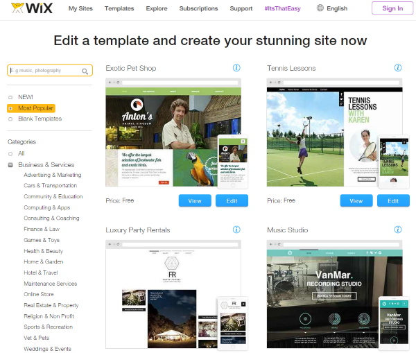 WordPress vs. Wix – Which is Right for You - Themes and Templates