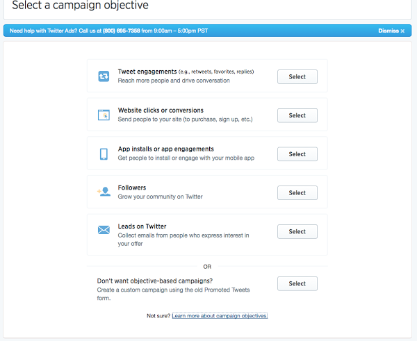 Objectives of Twitter ads
