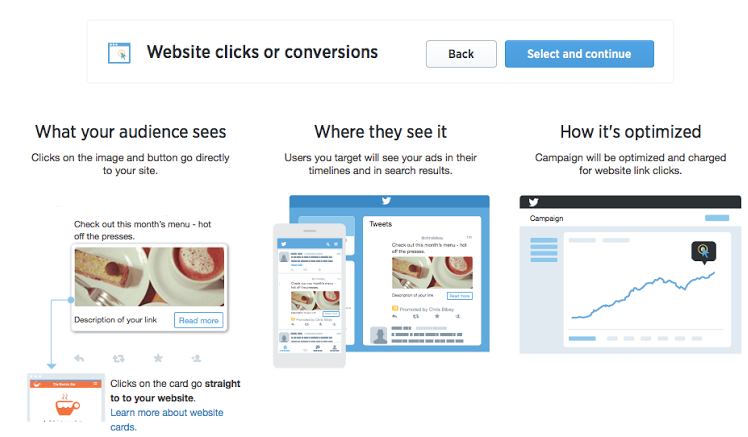 Twitter ad objective increase website clicks