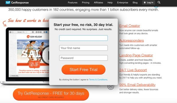 getresponse makes email marketing easy a review elegant themes blogsignup form getresponse 30 day free trial