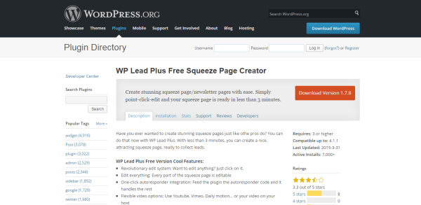 WP Lead Plus Free Squeeze Page Creator