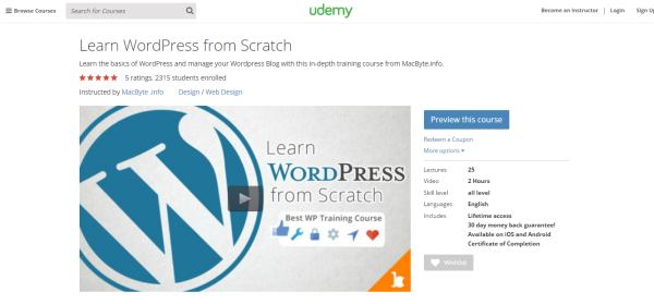 WordPress Courses By Udemy