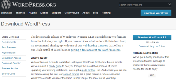 WordPress Download Page Screenshot