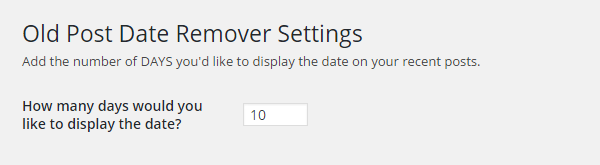 Old Post Date Remover plugin settings