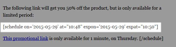 Scheduled Content shortcode