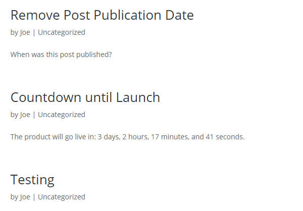 Dates removed from the post list archive page