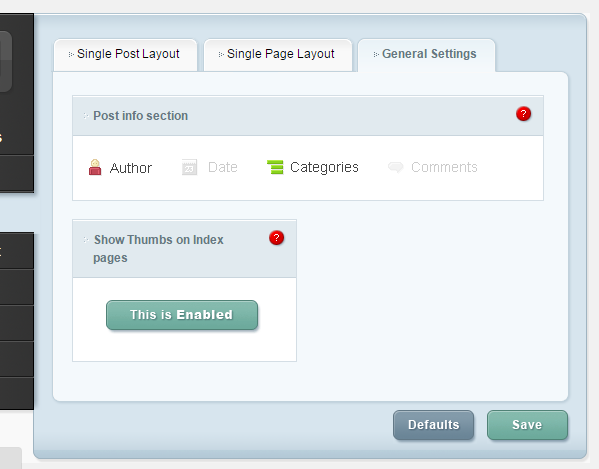 ePanel Post Page Layout settings