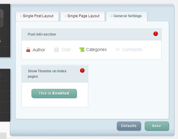 ePanel Post Page Layout settings