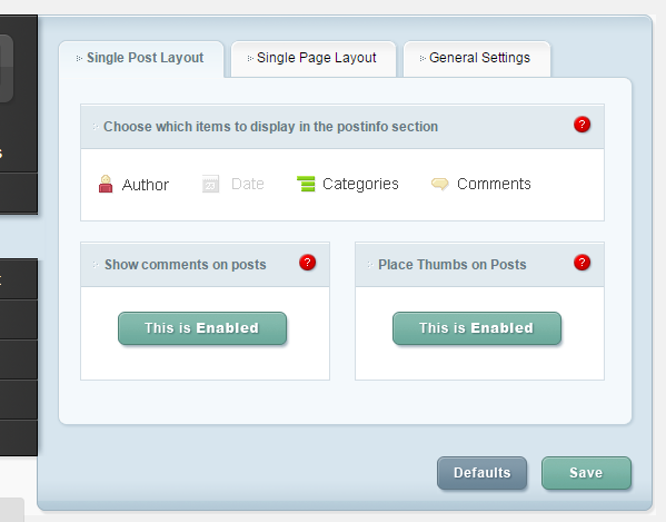 ePanel Single Post Layout settings