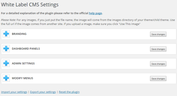 Settings Area of White Label CMS
