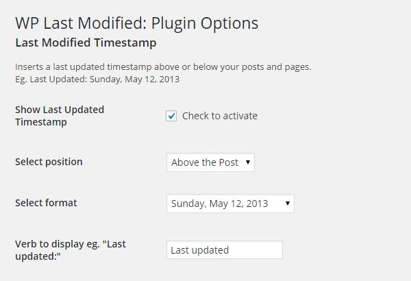 WP Last Modified Settings
