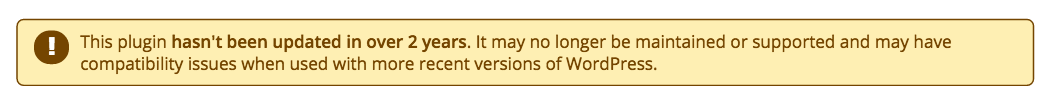 WP Plugin Warning Screenshot