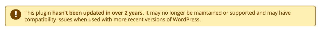 WP Plugin Warning Screenshot
