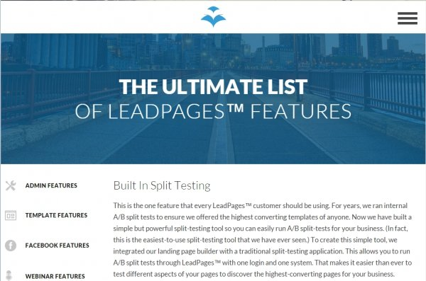 Split testing with lead pages