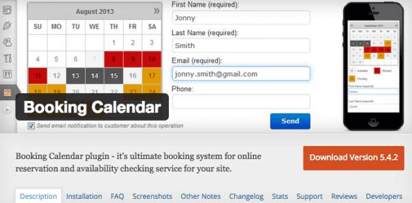Booking Calendar Screenshot